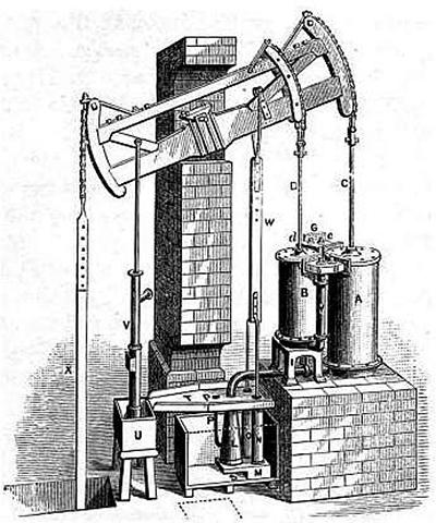 Illustrazione progettuale di un ascensore idraulico del 1800