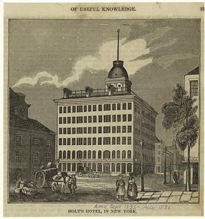 Nei primi anni del 1800 l'Holt Hotel di New York è il primo albergo con ascensore per il trasporto dei bagagli degli ospiti.